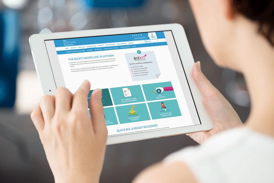 Brand Foundation website on tablet