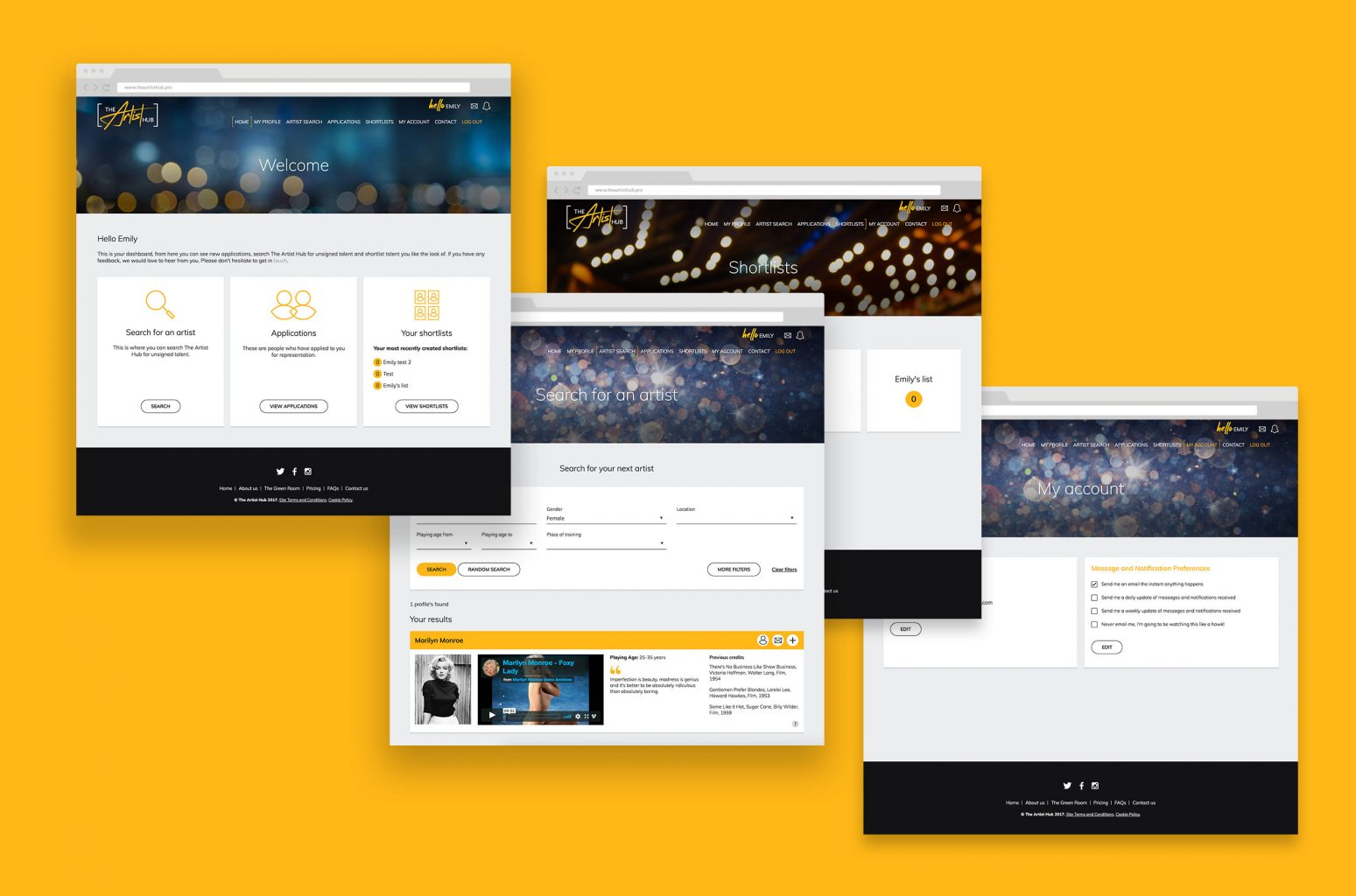 Agent pages – The Artist Hub – Responsive website